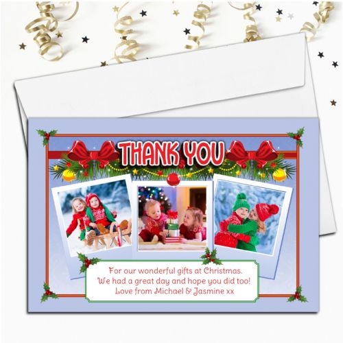 10 Personalised Christmas Xmas Thank you PHOTO Cards N8